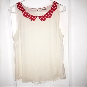 White blouse with red peter pan collar